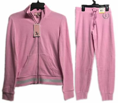 Juicy Couture Micro Terry Tracksuit Set 2-Piece Jacket & Pants Bubble Pink New! 2 Piece Jacket Pants