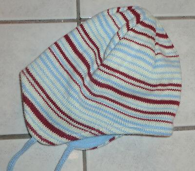 Hellblau/weiß/rot gestreifte Strickmütze mit weichem Innenfutter 45-50 cm