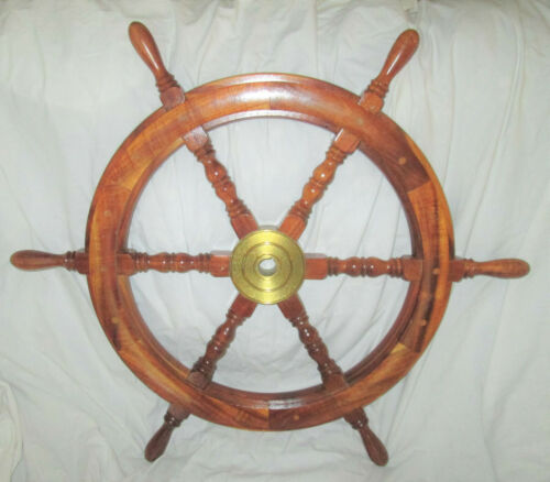 "30"" Vintage Wooden Ships Helm Wheel-Brass Center-Boat Nautical Decor"