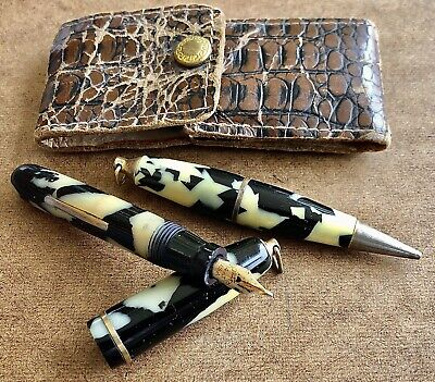 Vintage Small Fountain Pen and Mechanical Pencil Set In Original Case