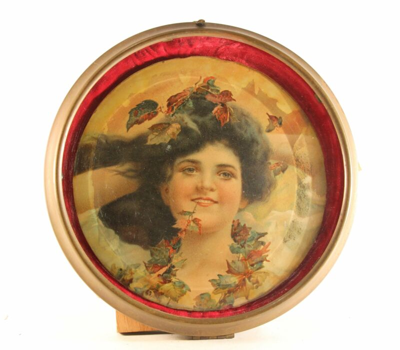 "Antique 8.5"" Flue Cover ""Girl With Leaves"" Glass With Metal Frame"