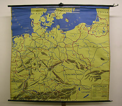 Schulwandkarte Wall Map Map Germany Europe Table Tablecloth 156x148 ~ 1960