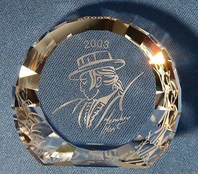 Swarovski Crystal SCS 2003 Antonio Paperweight 60 mm Plaque Rare Signed 626588