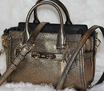 COACH Swagger 20 Mini Carryall Leather Shoulder Crossbody Bag Purse Gold $375