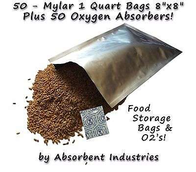 50 - 1 Quart 8x8 Mylar Pro Bags + 100cc Oxygen Absorbers Long Term Food Storage