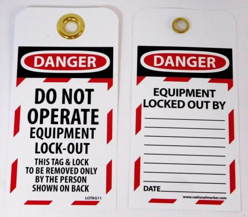 NMC DANGER DO NOT OPERATE EQUIPMENT LOCK-OUT Tags LOTAG11-25 (Pack of 25)