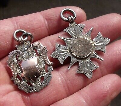 TWO ANTIQUE STERLING SILVER & GOLD FRONTED POCKET WATCH CHAIN, FOB, MEDALS