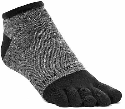 FUN TOES Men Toe Socks 3 Pairs Size 10 to 13 Shoe 6 12.5 Grey with black