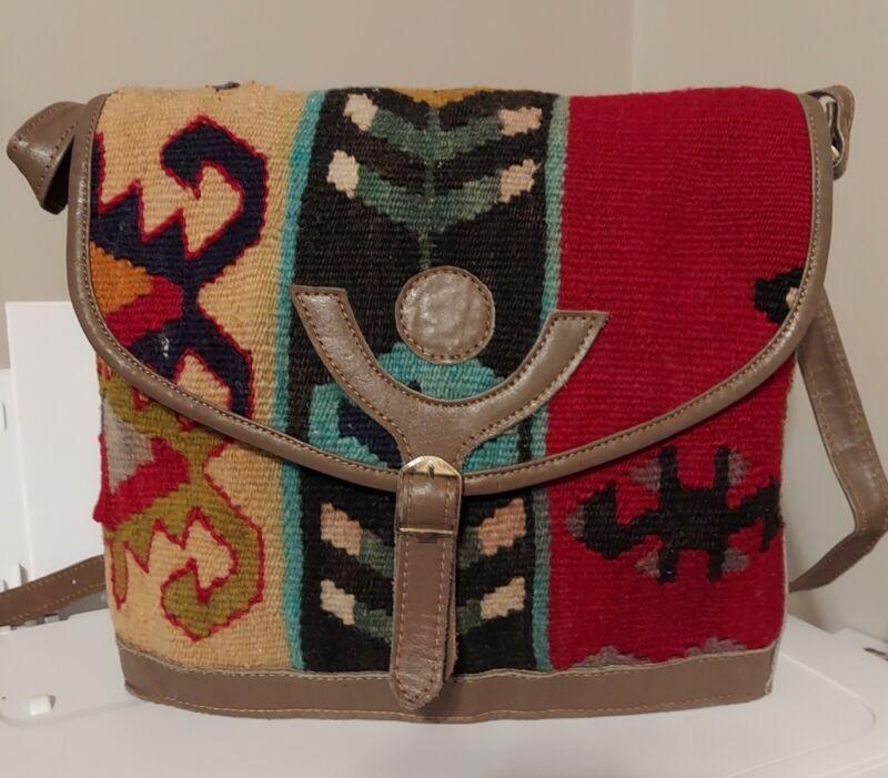 Vintage Navajo Wool Blanket Crossbody Bag