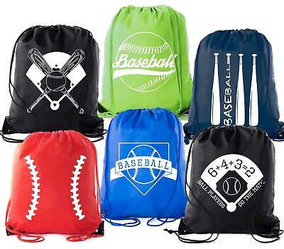 Mato & Hash Boys Drawstring Backpack Baseball Bags 1-10 Pack Bulk Options (Drawstring Backpack Bulk)