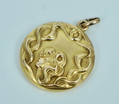 10K Art Nouveau Flowing Woman Face Locket Pendant for Necklace Antique Vintage
