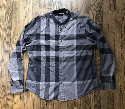 Burberry Brit Mens Signature Nova Check Long Sleeve Button Down Shirt Size 2XL