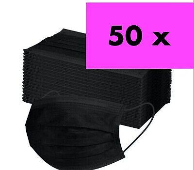 50 Stück Op Schutz-Masken Mundschutz-Masken 3 lagig Einwegmaske Schwarz-Maske