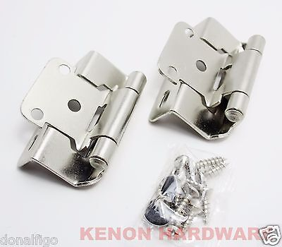 "Lot of 25 Pairs 50pcs 1/2"" Overlay Partial Wrap Self-Closing Hinge -Satin Nickel"