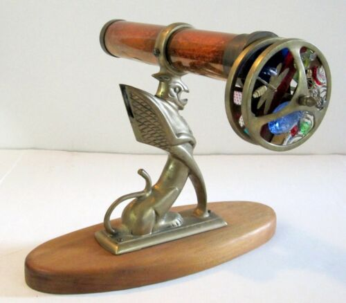 Vintage Brass/Copper Kaleidoscope On Figural Brass Griffin With Wood Base!