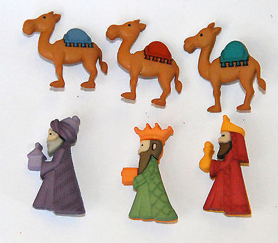 We Three Kings Christmas / Holiday Buttons / Jesse James Dress It Up / w - Christmas Buttons