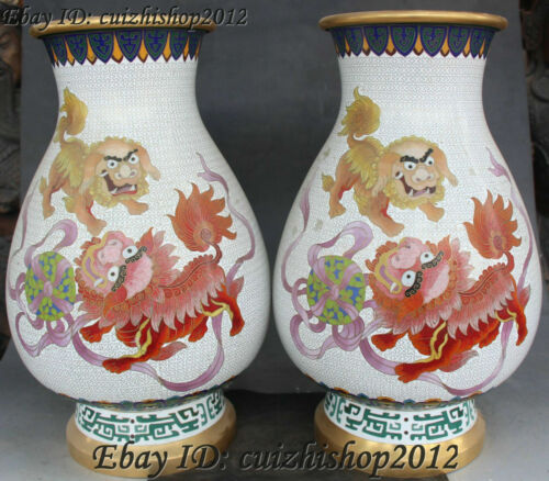 "15"" China cloisonne Gild Lion Fu Foo Dog Guardion Beast Bottle Vase Pot Jar Pair"