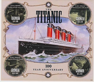 GRENADA - SHIPS, BOATS, TITANIC, 2012 - SC 3846 SHEETLET OF 4 MNH