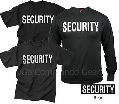 Security T Shirt Tees Event Bouncer Staff Double Sided Black Tee Shirts S 8Xl