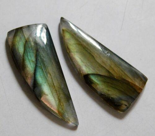 28.00 Cts Natural Labradorite (34.5mm X 13.5mm each) Cabochon Match Pair