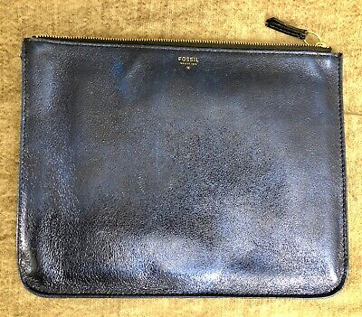 FOSSIL Shiny Metallic Blue Cow Leather Large Pouch Wallet Clutch Evening Tablet Blue Leather Wallet