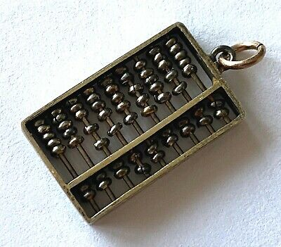Silver Working Abacus Moveable Beads Vintage Math Charm Pendant Patina