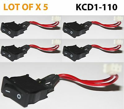 5pcs Mini Rocker Switch Panel Mount 6a 125v Ac Onoff Kcd11