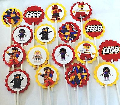 30 LEGO  Cupcake Toppers Birthday Party Favors, Baby Shower decoration 30  - Lego Baby Shower