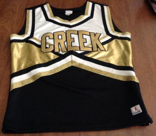 Real Cheerleading 2pc uniform black gold white Creek S XS Chasse