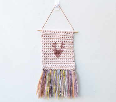 Woven Wall Hanging Deer Head with Rainbow Tassels