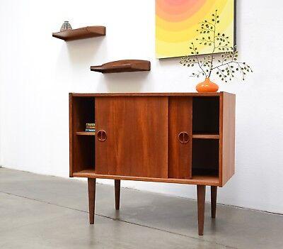 1960s Danish Modern Teak Compact Credenza Mid Century Vintage