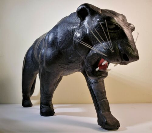 Exquisite Rare Vintage Black Panther large leather figure