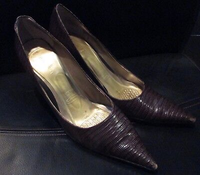 Nine West HONORE Brown Leather Pumps Heels Womens Shoes Size 10M