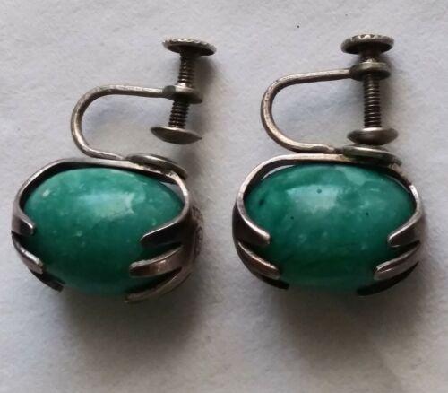 Vintage Horacio PARRA Mexico Sterling Silver Green Stone jellybean Earrings RARE