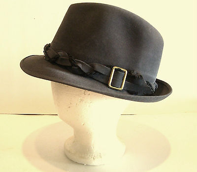 Mens Fedora Hat Grey Sz 7 Genuine Fur Felt Society Club Imperial Canada Vintage