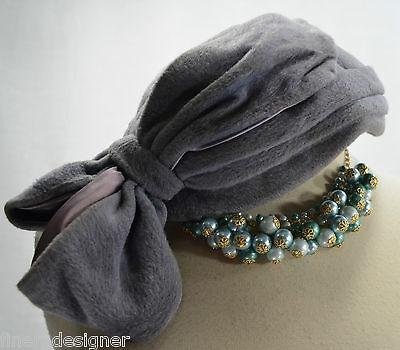 WOMENS Vintage Marie Periwinkle Blue Purple felt wool bow Hat Chapeau VTG 60s