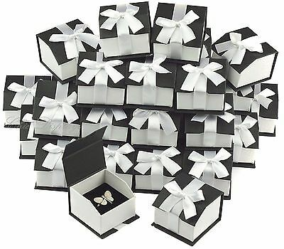 36- Ring Boxes Jewelry Boxes Ribbon Ring Box Showcase Box Black Jewelry Gift Box
