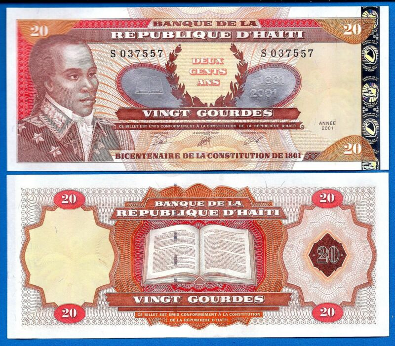 Haiti P-271A 20 Gourdes Year 2001 Uncirculated Banknote