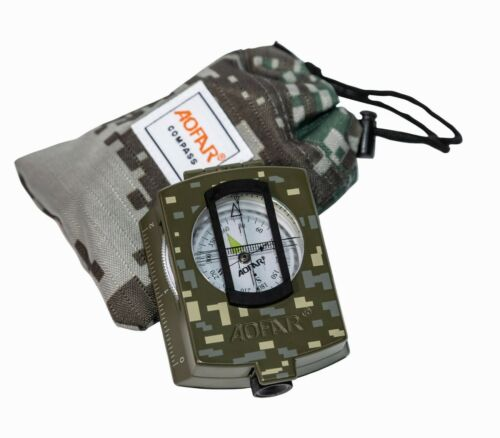 AOFAR Military Compass AF-4580 Lensatic Sighting for Camping Hiking Waterproof