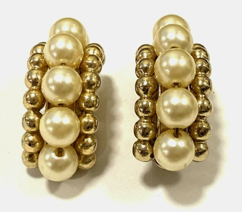 Vintage Napier Clip Earrings Faux Pearl Gold Tone Beads