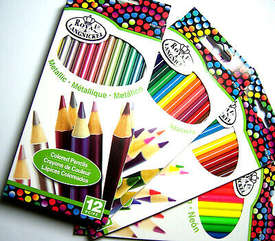New 12pc Colored Pencil Sets Metallic, Watercolor, Neon & Basic Royal Langnickel - Metallic Colored Pencils