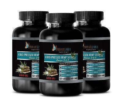 hemp oil - ORGANIC HEMP SEED OIL 1400mg - hemp seed oil for pain -3 Bot 180 Caps
