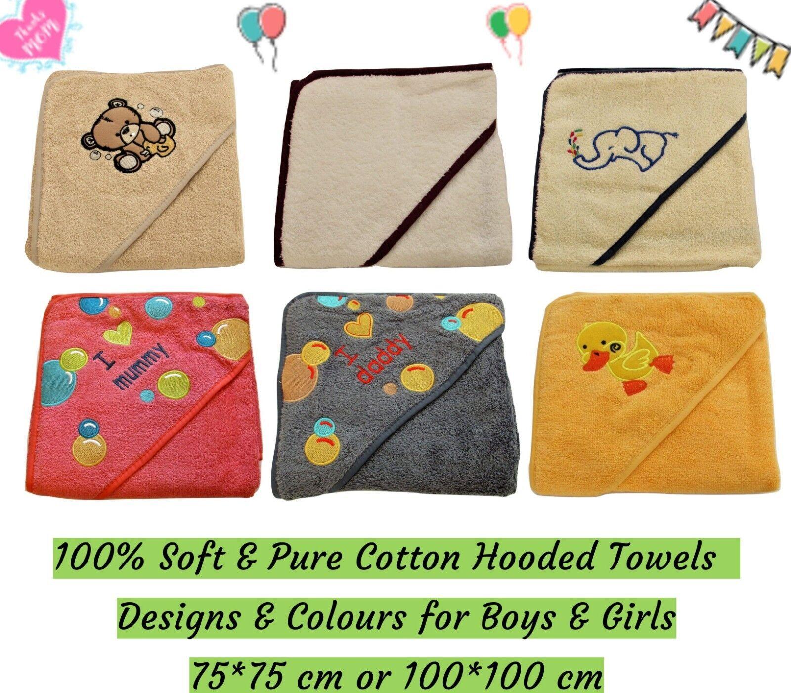 100% Cotton Baby Hooded Towel Bath Sheet Infant Boys Girls U