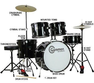 Complete Full Size Drum Set Cymbals Sticks Stool Hardware Complete Kit Black