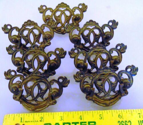 7 Antique Ornate  Brass Drawer Pulls