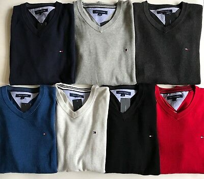 Mens Classic V-neck Sweater - NWT Mens Tommy Hilfiger Logo Classic V-Neck Pullover Cotton Sweater 7 Colors