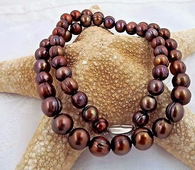 """NEW 22"""" HONORA CHOCOLATE 10-12MM RINGED PEARL NECKLACE STERLING CLASP"""