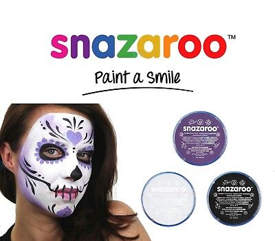 Snazaroo Halloween Black, White & Purple Face & Body Paint SKULL FACE Make Up UK