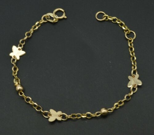 """14K Yellow Solid Gold rolo link Butterfly baby Children Bracelet 5.5"""""""