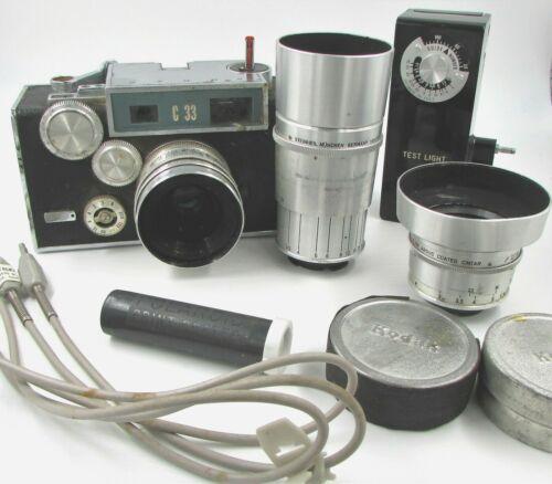 Vintage ARGUS C33 35mm Film Camera + Steinheil Munchen Germany 50 & 100mm Lenses